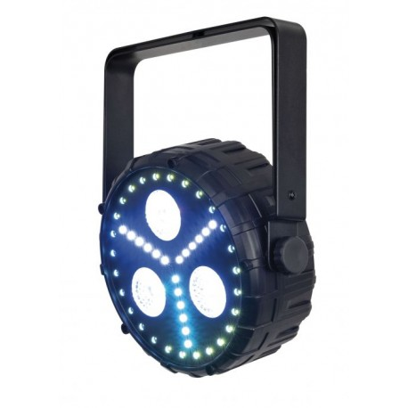 Showtec ClubPar Dizzy 3/8 3 LED 4-in-1 RGB+UV da 8W e 18 LED RGB da 0.5W con telecomando