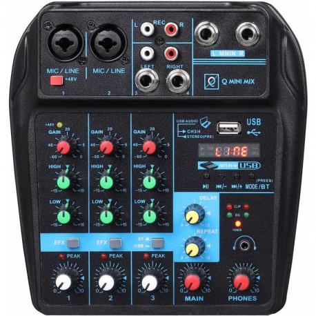 Mixer Q Mini USB con Usb/bluetooth/mp3 player e effetto delay OQAN