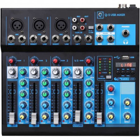 Mixer Q5 mk2 5 canali con Usb/bluetooth/mp3 player OQAN