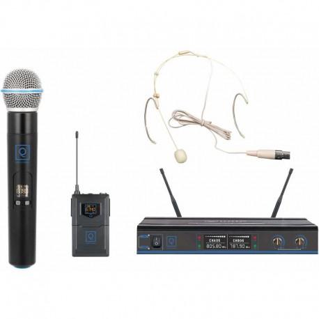Radiomicrofono doppio con Archetto e gelato UHF in dual channel QWM-3 Combo