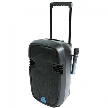 Cassa QLS-12 Traveler trolley a batteria con 2 radiomicrofoni,Radio, Bluetooth, USB e Telecomando OQAN