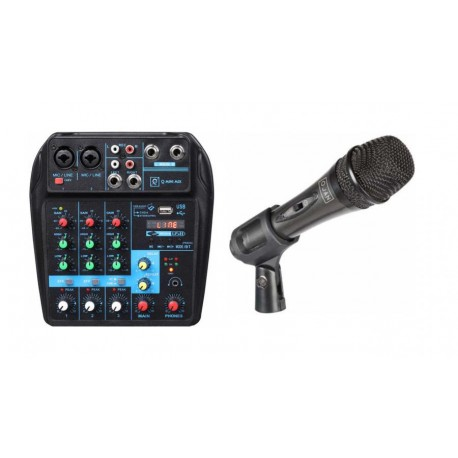 BUNDLE Mixer Q Mini USB con Usb/bluetooth/mp3 player e effetto delay OQAN + Mic Dinamico - Ideale per registrazioni e podcast