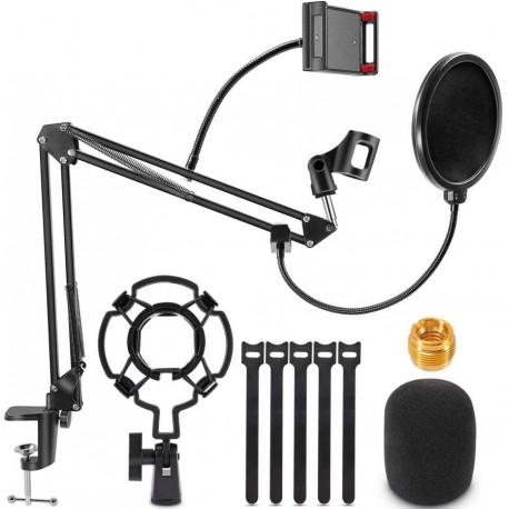 Supporto ad asta ensibile per microfono con porta cellulare e filtro pop